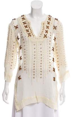 Calypso Embellished Silk Tunic