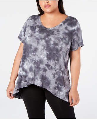 Calvin Klein Plus Size Tie-Dyed High-Low Top