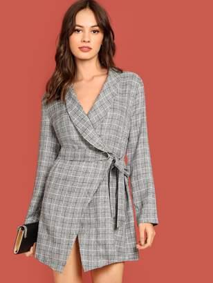 Shein Shawl Collar Self Tie Wrap Plaid Coat