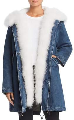 Maximilian Furs Fur Trim Denim Down Parka - 100% Exclusive