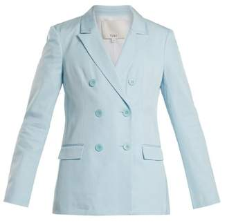 Tibi Steward Double Breasted Peak Lapel Blazer - Womens - Light Blue