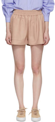 Stella McCartney Pink Faux-Leather Gathered Shorts