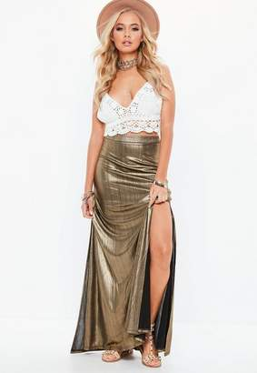 Missguided Gold Metallic Split Front Skirt