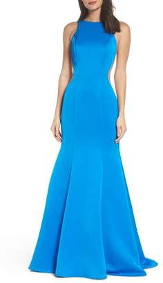 La Femme Side Illusion Satin Mermaid Gown