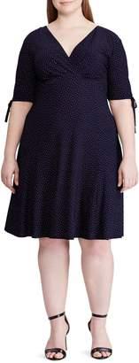 Chaps Dot-Print Jersey Fit--Flare Dress