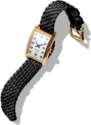 Tom Ford Timepieces Men's 40x27 18K Gold Braided-Leather Medium Watch, White/Black