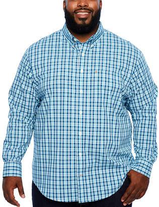 Izod Ls Premium Essentials Long Sleeve Plaid Button-Front Shirt-Big and Tall