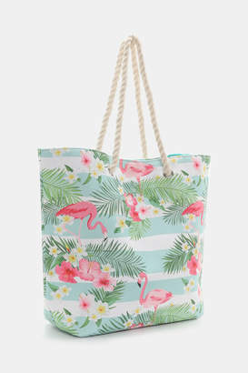 Ardene Flamingo Print Canvas Tote Bag