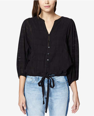 Sanctuary Indio Linen Drawstring-Hem Top