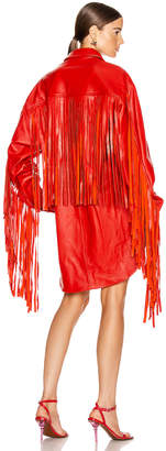 Vetements Fringe Leather Shirt in Red | FWRD