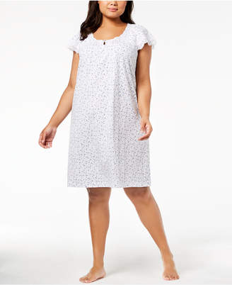 Charter Club Plus Size Lace-Sleeve Cotton Nightgown, Created for Macy's