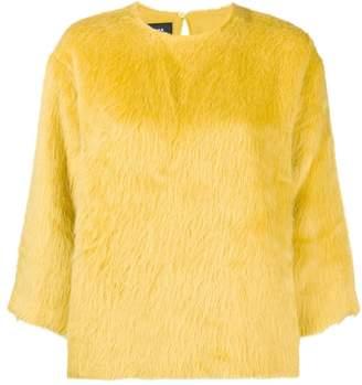 Rochas round neck furry sweatshirt