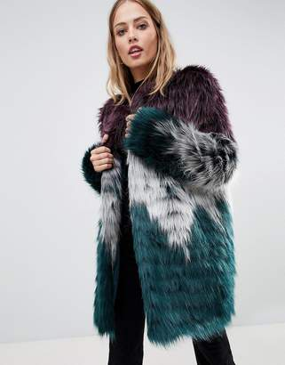 Urban Code Urbancode faux fur coat in tri color