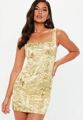 Missguided Gold Oriental Jacquard Dress