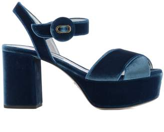 Prada Light Blue Velvet Sandals