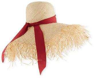 ete Gigi Burris Frayed-Brim Raffia Sun Hat
