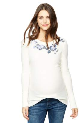 A Pea in the Pod Embroidered Neckline Maternity Sweater