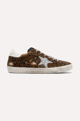 Golden Goose Superstar Glittered Leather And Distressed Leopard-print Calf Hair Sneakers