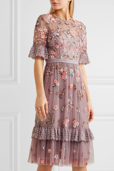 Needle & Thread - Embellished Embroidered Tulle Dress - Lavender 2
