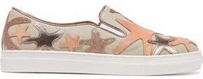 Charlotte Olympia Alex Metallic Iridescent Leather-Appliquéd Canvas Sneakers