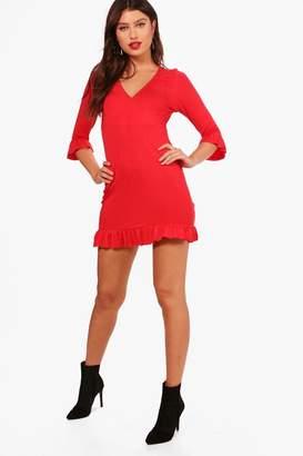 boohoo Ruffle Detail Jersey Tea Dress