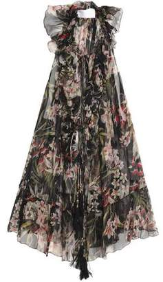 Zimmermann Curacao Ruffled Floral-Print Silk-Georgette Blouse