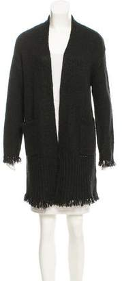 Velvet Fringe-Trimmed Open Knit Cardigan w/ Tags