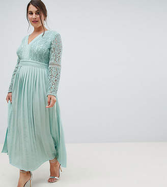 Little Mistress Plus lace top midi skater dress with pleated skirt in spearmint