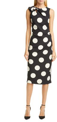 Christian Siriano Polka Dot Bow Shoulder Cocktail Dress
