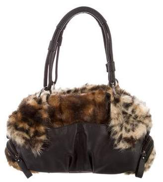 Adrienne Landau Faux Fur Leather-Trimmed Bag w/ Tags