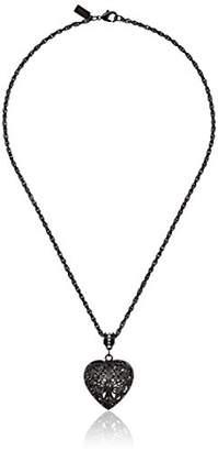 Swarovski 1928 Jewelry Black-Tone Filigree Heart with Crystal Accent Pendant Necklace