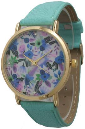 OLIVIA PRATT Olivia Pratt Womens Gold-Tone Multi-Color Floral Print Dial Mint Leather Strap Watch 14181