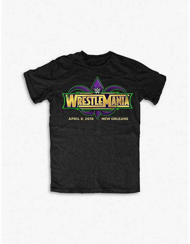 Wrestlemania 34 logo-print cotton T-shirt large
