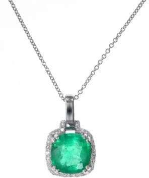 Effy Emerald Diamond and 14K White Gold Pendant Necklace