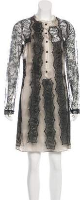 Bottega Veneta Lace-Paneled Silk Dress