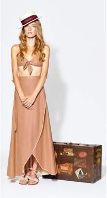 Miguelina Ballerina Linen Wrap Skirt - Red Venetian Stripe