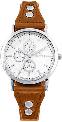 Decree Girls Orange Silver-Tone Vintage Stud Strap Watch