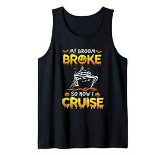 b-ROOM Womens My Broom Broke So Now I Cruise Halloween Cruising Tank Top