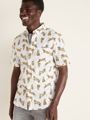 Old Navy Slim-Fit Built-In Flex Printed Everyday Shirt for Men