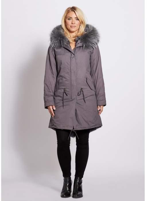 Popski London Popski London Grey 3 4 Length Parka With Matching Raccoon Fur Collar