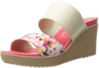 Crocs Women's Leigh II 2 Strap Graphic Wedge Sandal