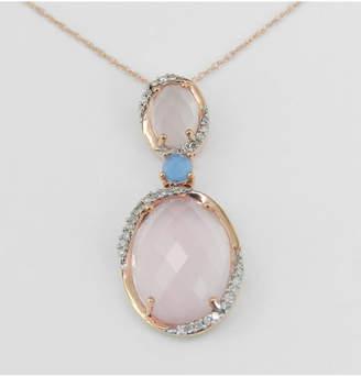 "Margolin & Co Frosted Rose Quartz Diamond Blue Topaz Necklace Pendant 18"" Rose Gold Chain Unique Wedding Gift"