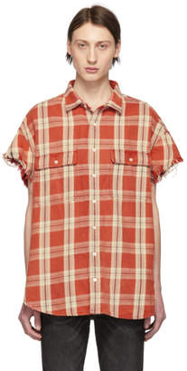 R 13 Red Plaid Oversized Cut-Off Shirt