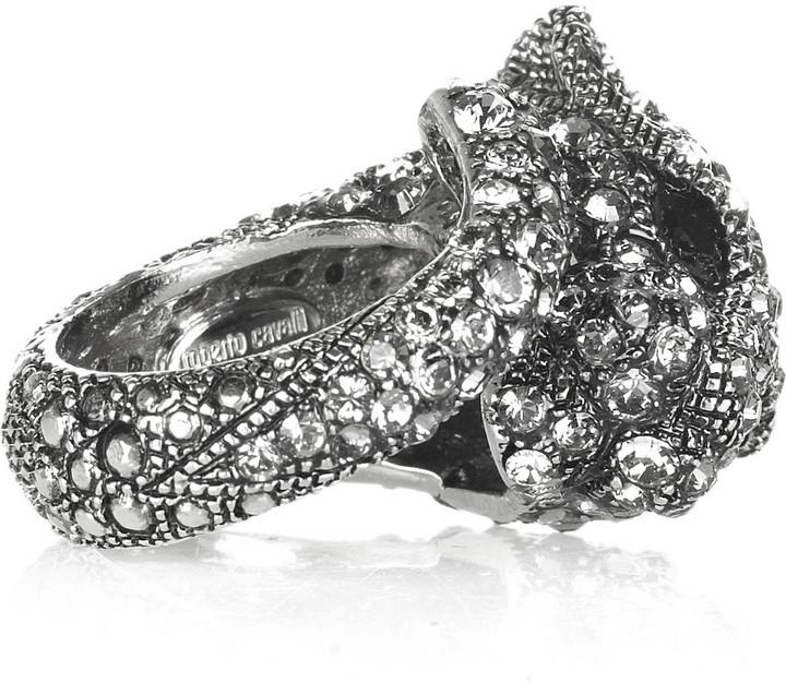 Roberto Cavalli Swarovski crystal panther ring