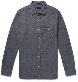 J.Crew Melange Herringbone Cotton-Blend Shirt - Navy