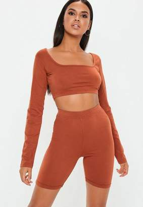 Missguided Rust Long Sleeve Scoop Neck Crop Top
