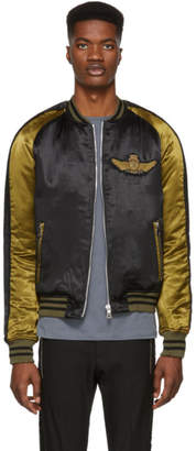 Balmain Khaki and Black Satin Badge Varsity Jacket