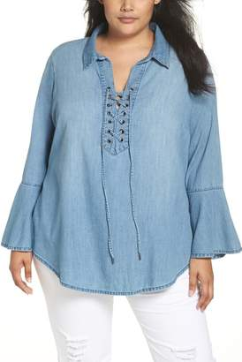 Seven7 Lace-Up Tunic (Plus Size)