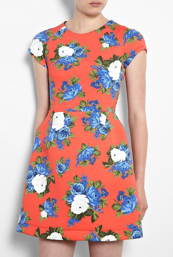 MSGM Orange Floral Scuba Dress