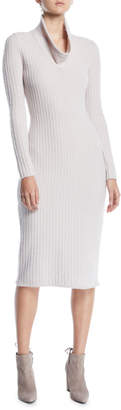 Gentry Portofino Cowl-Neck Long-Sleeve Ribbed Tea-Length Cashmere-Blend Sweaterdress